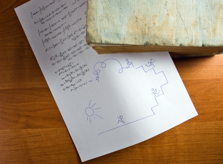 simbolos matematicos: Papel con la f?rmula matem?tica unido al libro antiguo