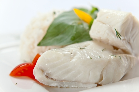 halibut: Halibut with greens and vegetables