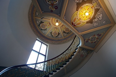Ladder in national museum of art nouveau in Riga , Latvia