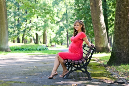 The young pregnant woman has a rest on a bench in park photo