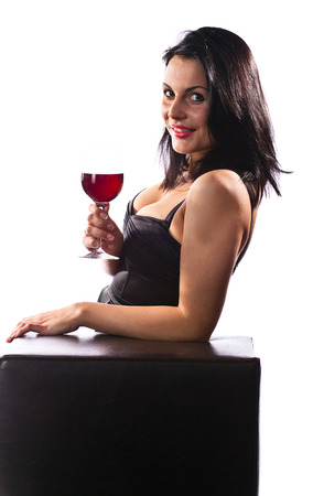 woman with red wine , isolated on white photo
