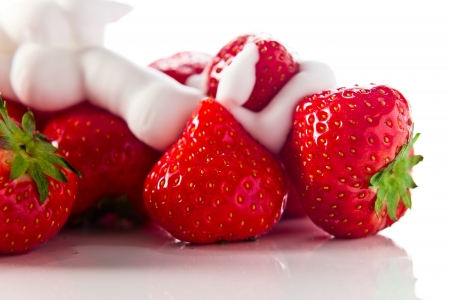 reflexive: strawberry  with cream isolated on white reflexive