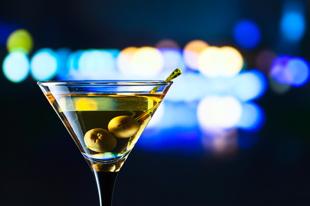 horizontal bar: glass with martini  Stock Photo