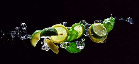 fruit bar: lime and lemon pieces with leaves of mint  Stock Photo