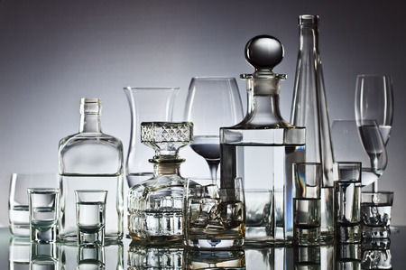 vodka: alcoholic drinks in bar on glass table  Stock Photo