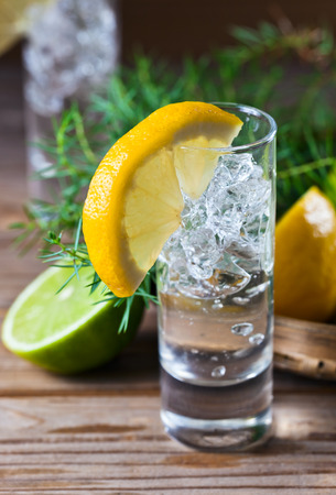 Gin with lemon and ice on a old wooden table photo