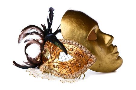 masquerade mask:  gold Venetian masks isolated on  white  background