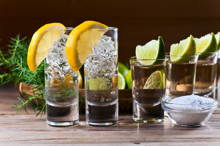 alcoholic drink with lemon and ice on a old wooden table Imagens