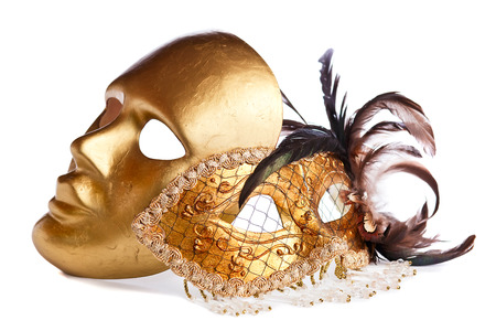 gold Venetian masks isolated on  white  background