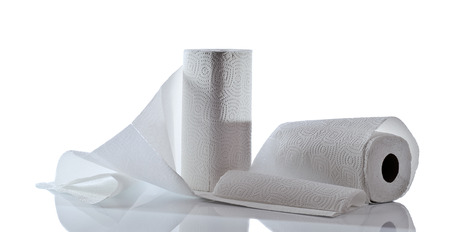 reflective background: paper towel isolated on  white reflective background