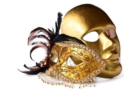 gold Venetian masks isolated on  white  background