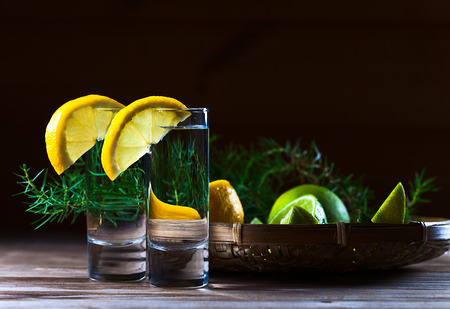gin: Gin with lemon on a old wooden table