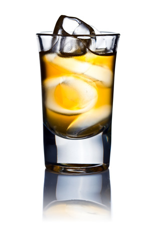 alcoholic drink: alcoholic drink and natural ice isolated on white background Stock Photo