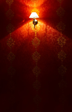 shined: Red wall shined with an electric lamp