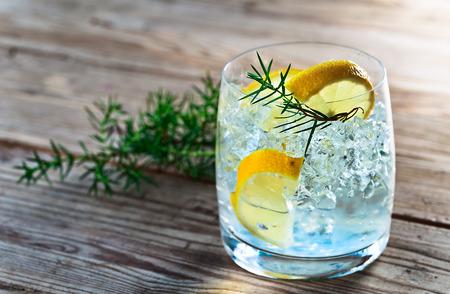 cocteles de frutas: Gin con el lim�n y la rama de enebro en una mesa de madera vieja Foto de archivo
