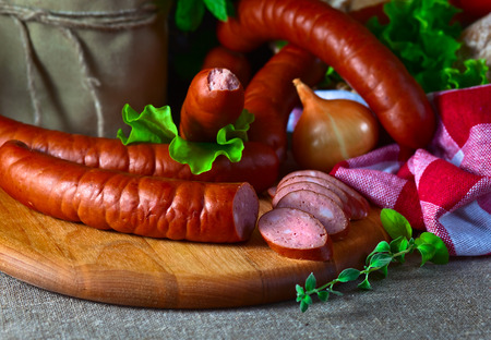 smoked sausage and onion on kitchen table