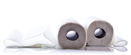 paper towel isolated on  white reflective background
