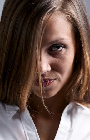 portrait the sad woman with long hair photo