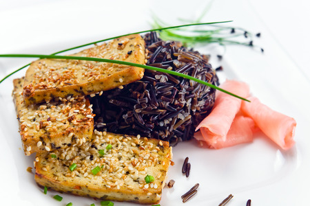 black rice: grilled cheese tofu with black rice and ginger