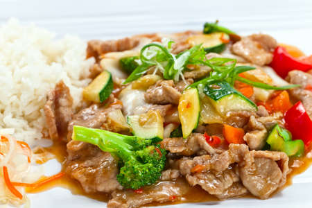 bean sprouts: Stewed meat with vegetables and bean sprouts.  Korean cuisine.
