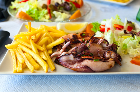squids: grilled squids with fried potato and salad
