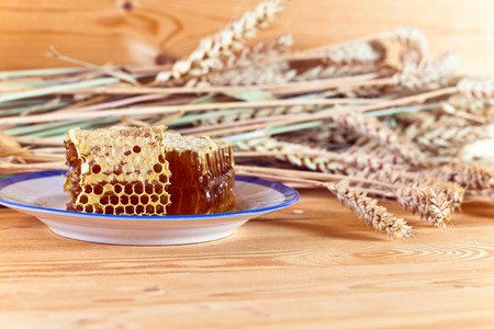 honey comb: honey in the comb on a wooden table