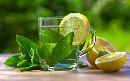 traditional plants: peppermint tea with lemon on wooden table in garden