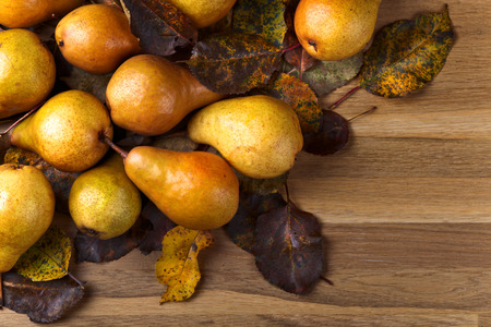 juicy: Juicy ripe pears on a wooden table
