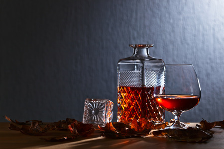 snifter: snifter of brandy and dried oak leaves