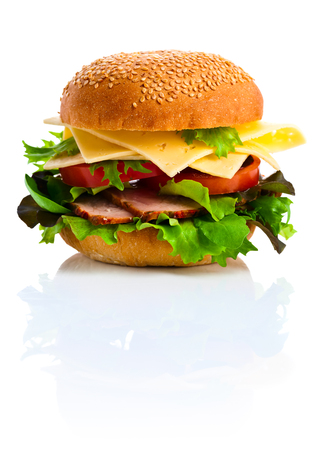 reflexive: burger isolated on a white reflexive background Stock Photo