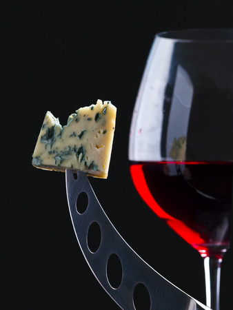 roquefort: cheese and red wine Stock Photo
