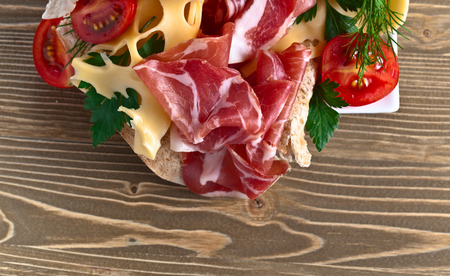jamon: jamon with cheese on old wooden table