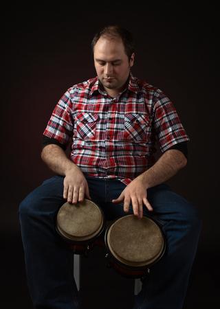 bongo: portrait of musician with bongo Stock Photo