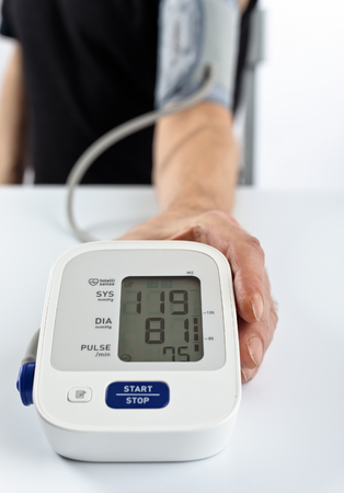 tonometer: patient with a tonometer , focus on foreground