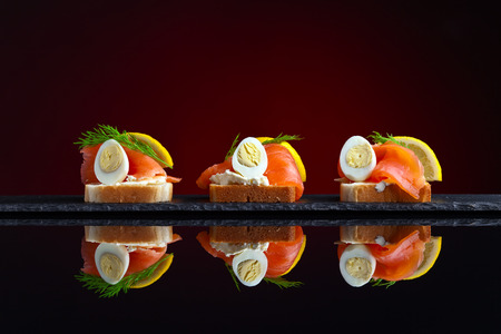 reflexive: sandwich with salmon , egg and lemon on reflexive background