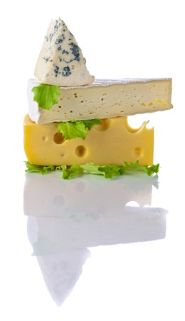 bri: various cheeses isolated on a white background