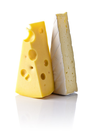 bri: maasdam and bri cheese isolated on a white background Stock Photo