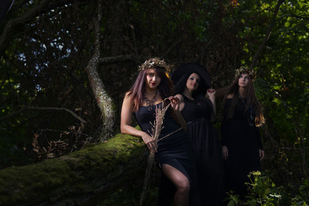 three beautiful young witches in dark forest Stock Photo