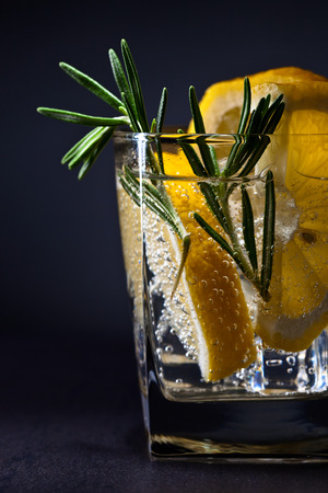 gin: gin with tonic, lemon and rosemary on  dark background