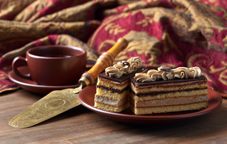 coffee cake: Coffee cake on a old wooden table Stock Photo