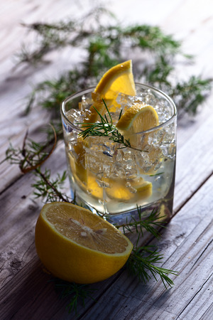gin: Gin with lemon and juniper twig on old wooden table