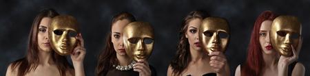 vier Frauen Gesichter hinter goldenen Masken versteckt