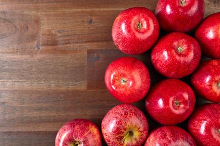 juicy: ripe juicy apples on a wooden table