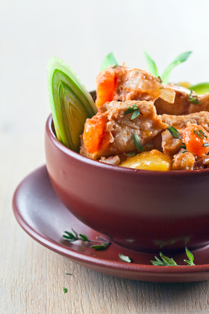 irish easter: Homemade beef stew with carrots and potatoes