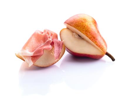 Spanish jamon with pear isolated on white background Stock Photo