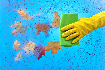 rubber glove: Hand in yellow rubber glove cleaning window on a blue sky background.