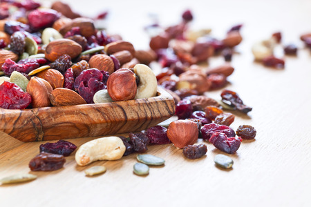 frutas secas: Close up of a mixed of nuts,dry fruits and berries Foto de archivo