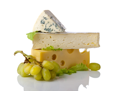 bri: cheeses and grapes with salad isolated on a white background