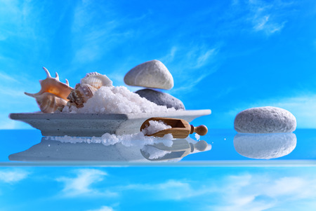 Sea salt with stones and shells on a background of blue sky