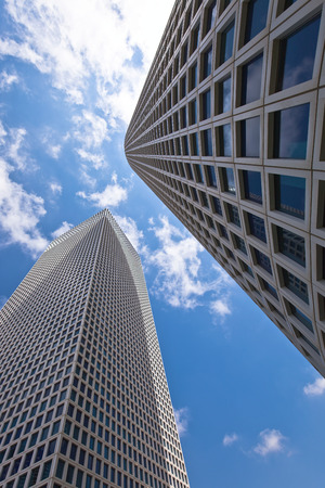 modern skyscrapers on a blue sky background Stock Photo